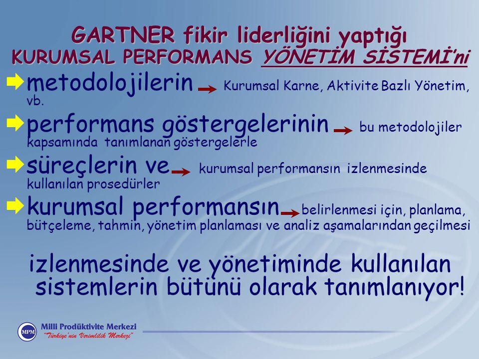 GARTNER fikir liderliğini yaptığı KURUMSAL PERFORMANS YÖNETİM SİSTEMİ'ni  metodolojilerin Kurumsal Karne, Aktivite Bazlı Yönetim, vb.  performans gö