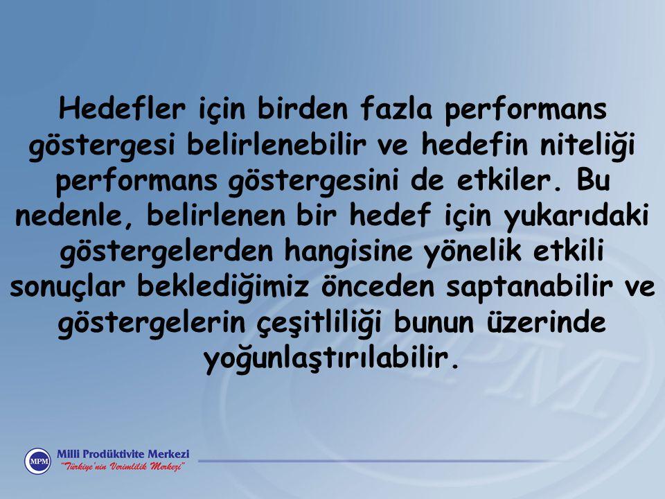 Hedefler için birden fazla performans göstergesi belirlenebilir ve hedefin niteliği performans göstergesini de etkiler. Bu nedenle, belirlenen bir hed