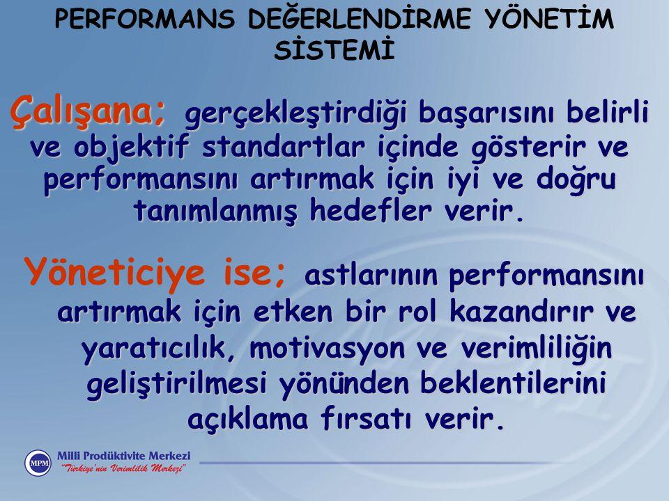 Çalışana; gerçekleştirdiği başarısını belirli ve objektif standartlar içinde gösterir ve performansını artırmak için iyi ve doğru tanımlanmış hedefler