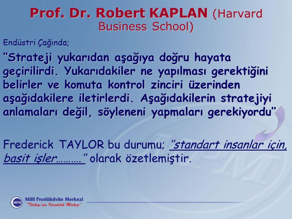 Prof. Dr. Robert KAPLAN (Harvard Business School) Endüstri Çağında; ''Strateji yukarıdan aşağıya doğru hayata geçirilirdi. Yukarıdakiler ne yapılması
