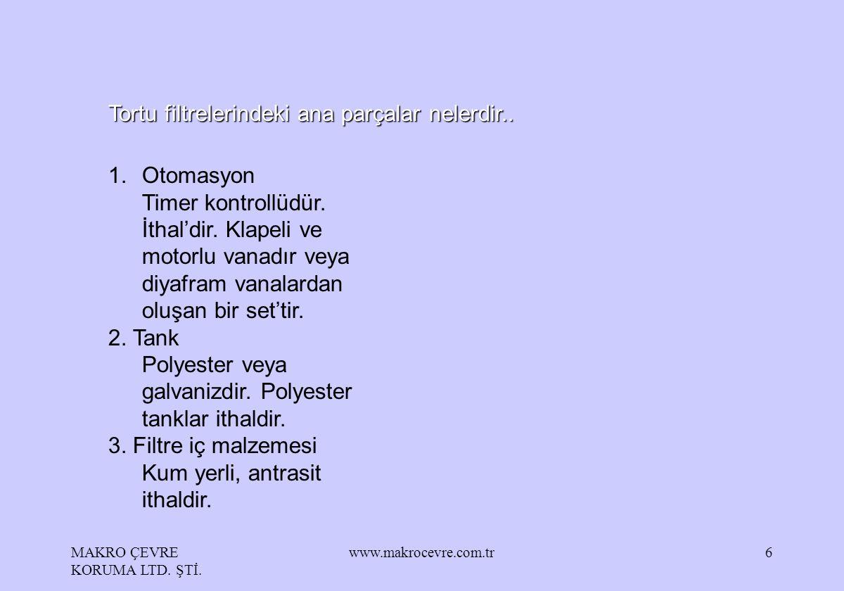 MAKRO ÇEVRE KORUMA LTD. ŞTİ. www.makrocevre.com.tr6 Tortu filtrelerindeki ana parçalar nelerdir.. 1.Otomasyon Timer kontrollüdür. İthal'dir. Klapeli v