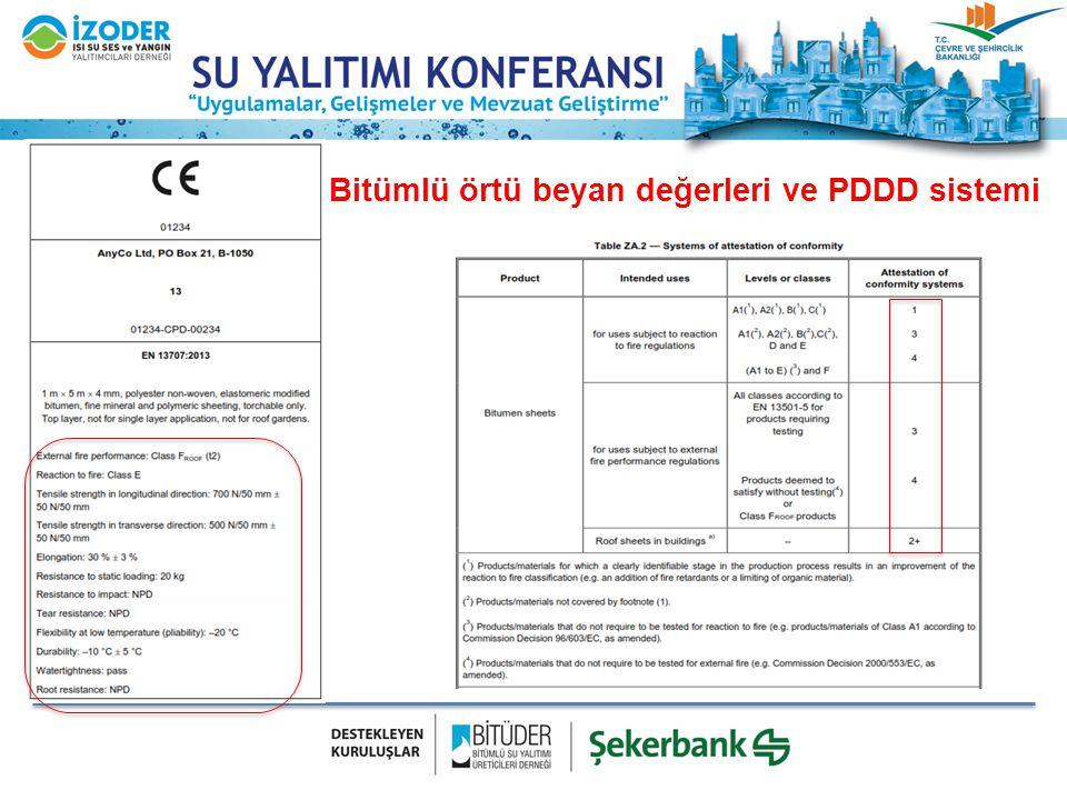 Bitümlü örtü beyan değerleri ve PDDD sistemi