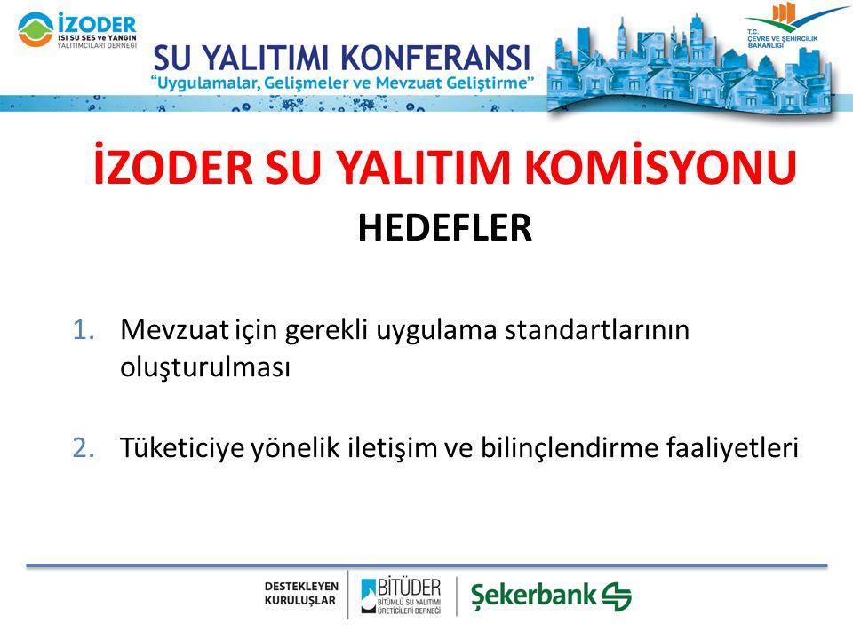 İZODER SU YALITIM KOMİSYONU HEDEFLER 1.Mevzuat için gerekli uygulama standartlarının oluşturulması 2.Tüketiciye yönelik iletişim ve bilinçlendirme faa