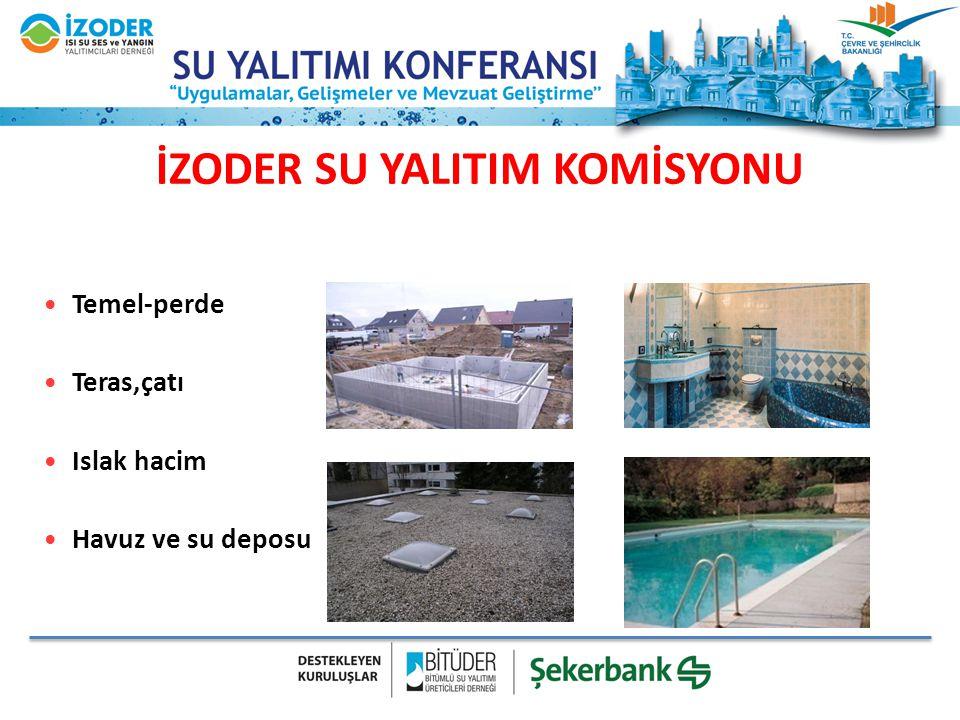 İZODER SU YALITIM KOMİSYONU Temel-perde Teras,çatı Islak hacim Havuz ve su deposu