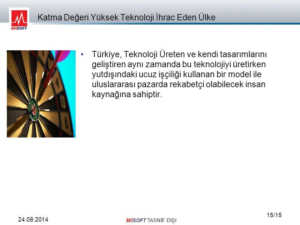 MilSOFT TASNİF DIŞI 15/15 24.08.2014 Katma Değeri Yüksek Teknoloji İhrac Eden Ülke Türkiye, Teknoloji Üreten ve kendi tasarımlarını geliştiren aynı zamanda bu teknolojiyi üretirken yutdışındaki ucuz işçiliği kullanan bir model ile uluslararası pazarda rekabetçi olabilecek insan kaynağına sahiptir.