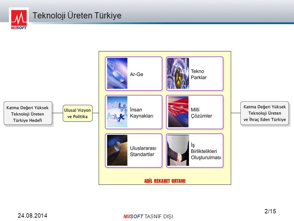 MilSOFT TASNİF DIŞI 3/15 24.08.2014 Ucuz işçilik ile rekabet etmeye çalışmak yerine, teknoloji üreten ve İhraç eden Türkiye için; nitelikli işgücünün kullanıldığı, yenilikçi fikirlerin hayata geçirildiği, katma değeri yüksek yeni teknoloji geliştirmenin hedeflendiği ulusal vizyon ve politikaların belirlenmesi ve kararlı bir şekilde adil rekabet ortamında uygulanması gerekmektedir.