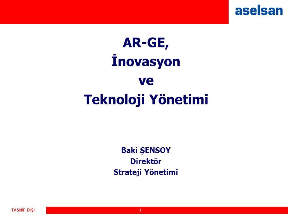 1 TASNİF DIŞI AR-GE, İnovasyon ve Teknoloji Yönetimi Baki ŞENSOY Direktör Strateji Yönetimi