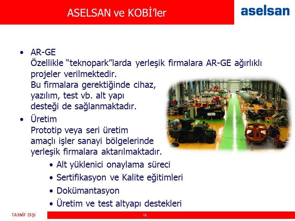 """15 TASNİF DIŞI ASELSAN ve KOBİ'ler AR-GE Özellikle """"teknopark""""larda yerleşik firmalara AR-GE ağırlıklı projeler verilmektedir. Bu firmalara gerektiğin"""
