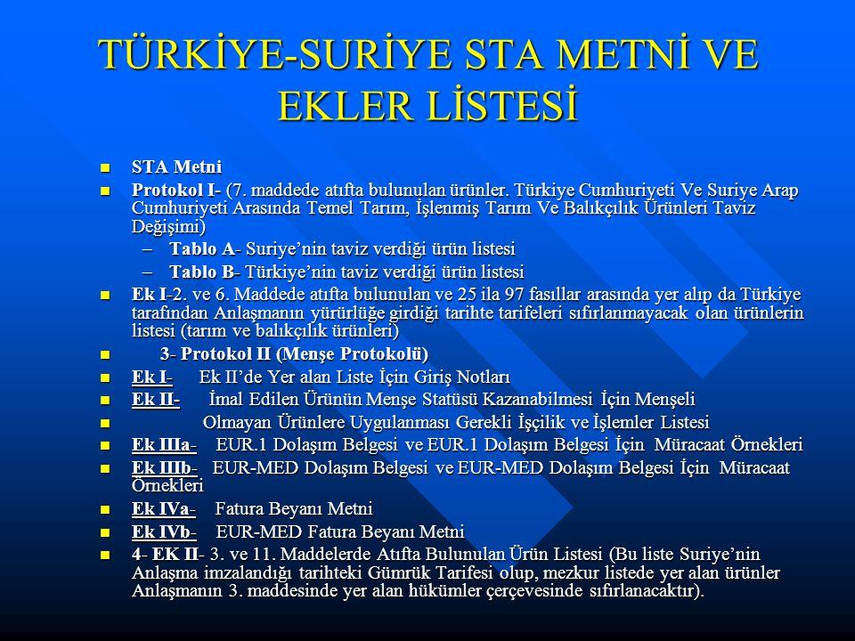 TÜRKİYE-SURİYE STA METNİ VE EKLER LİSTESİ STA Metni STA Metni Protokol I- (7.