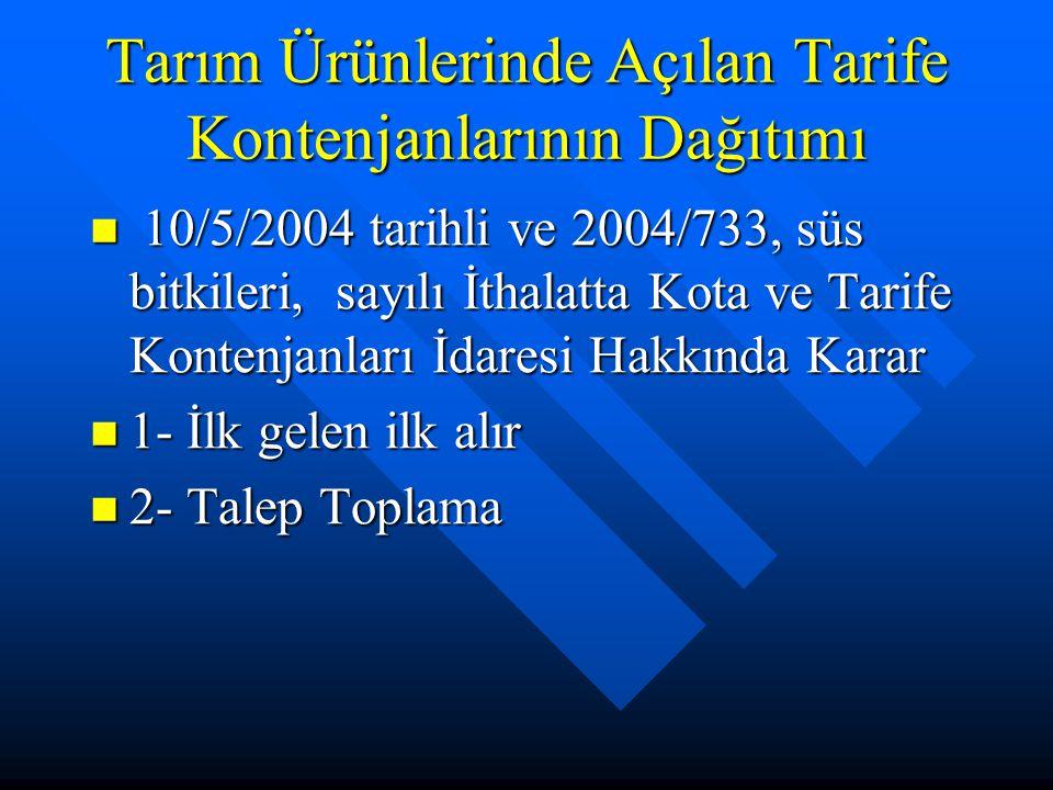 Tarım Ürünlerinde Açılan Tarife Kontenjanlarının Dağıtımı 10/5/2004 tarihli ve 2004/733, süs bitkileri, sayılı İthalatta Kota ve Tarife Kontenjanları