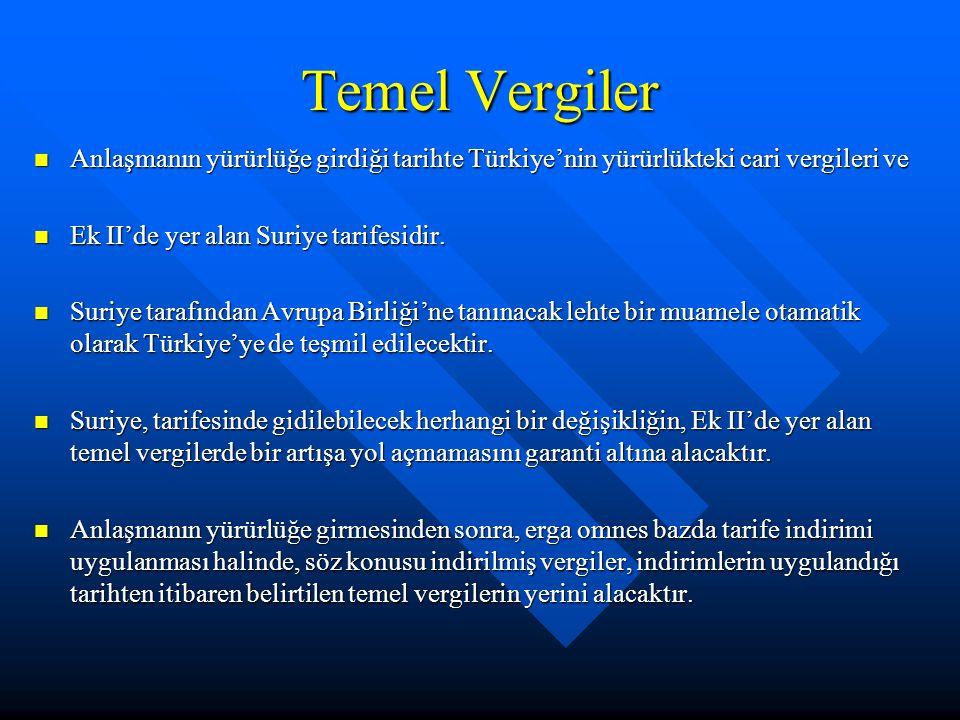 Temel Vergiler Anlaşmanın yürürlüğe girdiği tarihte Türkiye'nin yürürlükteki cari vergileri ve Anlaşmanın yürürlüğe girdiği tarihte Türkiye'nin yürürlükteki cari vergileri ve Ek II'de yer alan Suriye tarifesidir.