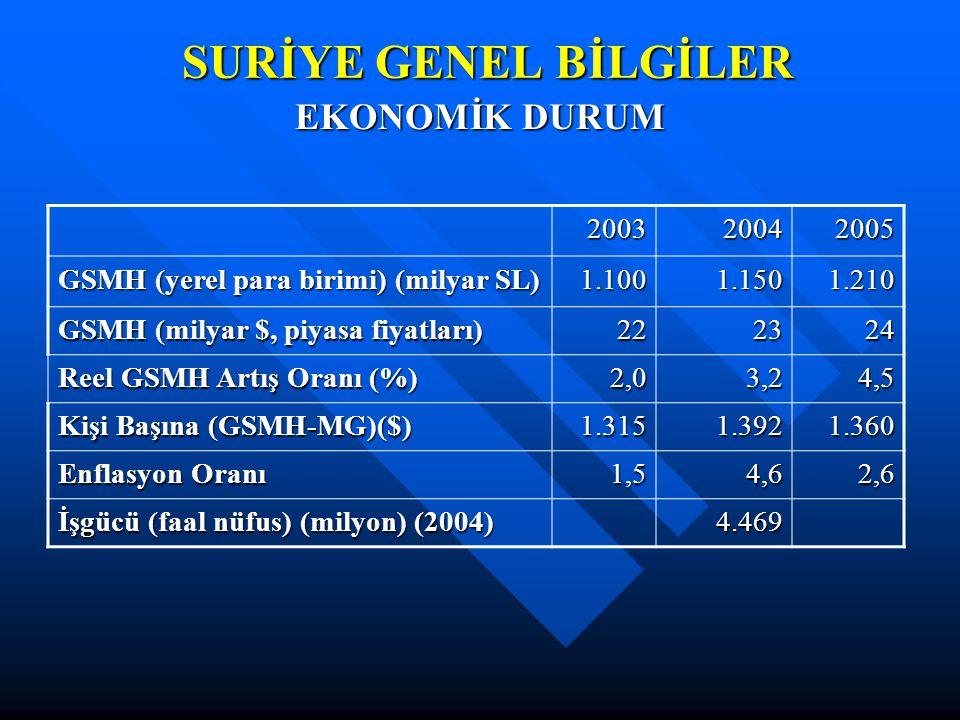 SURİYE GENEL BİLGİLER EKONOMİK DURUM 200320042005 GSMH (yerel para birimi) (milyar SL) 1.1001.1501.210 GSMH (milyar $, piyasa fiyatları) 222324 Reel GSMH Artış Oranı (%) 2,03,24,5 Kişi Başına (GSMH-MG)($) 1.3151.3921.360 Enflasyon Oranı 1,54,62,6 İşgücü (faal nüfus) (milyon) (2004) 4.469