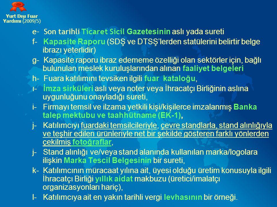 e- Son tarihli Ticaret Sicil Gazetesinin aslı yada sureti f- Kapasite Raporu (SDŞ ve DTSŞ'lerden statülerini belirtir belge ibrazı yeterlidir) g- Kapa