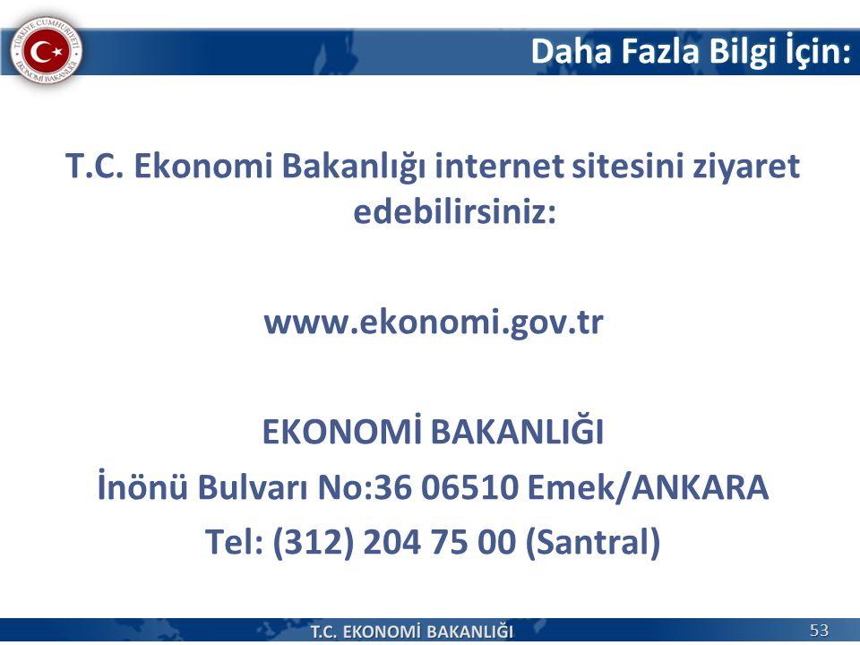 Daha Fazla Bilgi İçin: T.C. Ekonomi Bakanlığı internet sitesini ziyaret edebilirsiniz: www.ekonomi.gov.tr EKONOMİ BAKANLIĞI İnönü Bulvarı No:36 06510