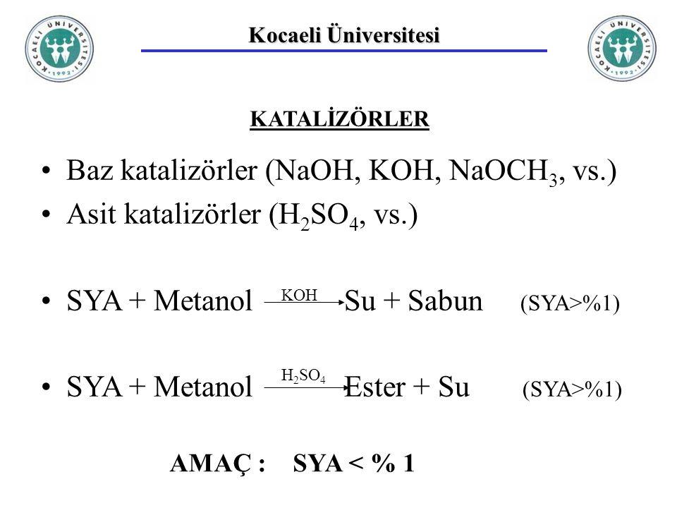 Kocaeli Üniversitesi KATALİZÖRLER Baz katalizörler (NaOH, KOH, NaOCH 3, vs.) Asit katalizörler (H 2 SO 4, vs.) SYA + Metanol Su + Sabun (SYA>%1) SYA + Metanol Ester + Su (SYA>%1) KOH H 2 SO 4 AMAÇ : SYA < % 1