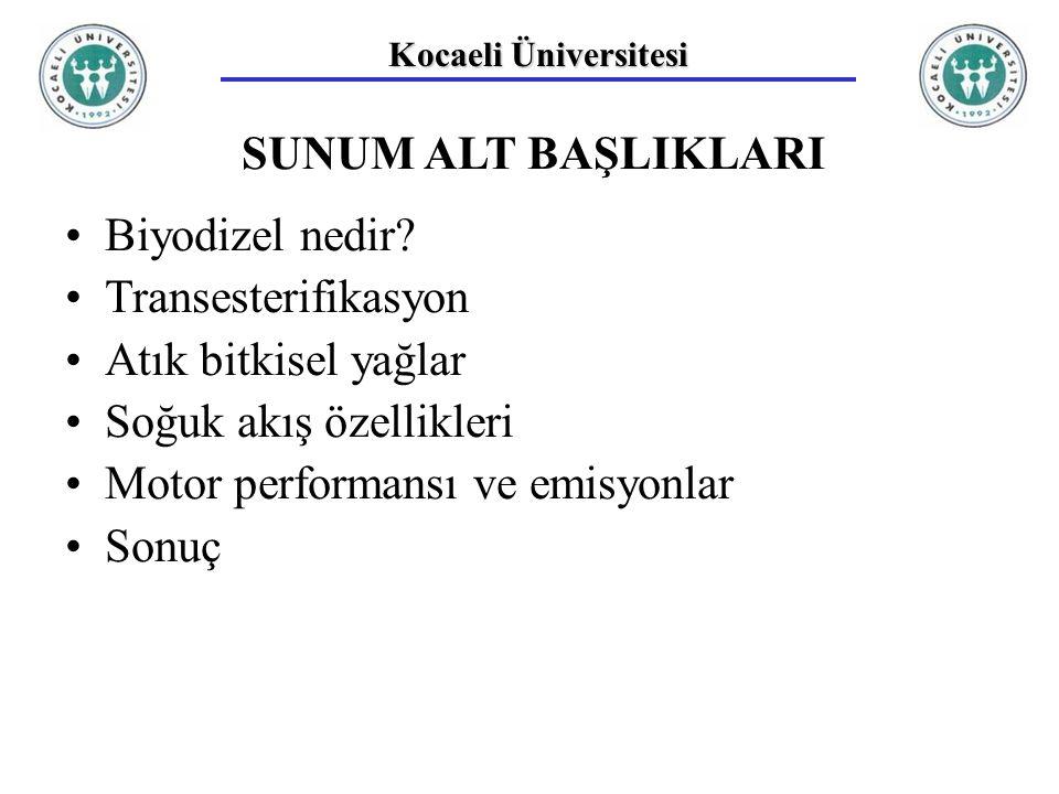Kocaeli Üniversitesi SUNUM ALT BAŞLIKLARI Biyodizel nedir.