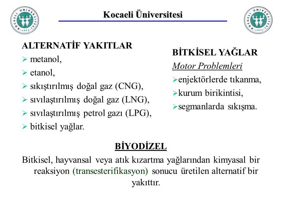 Kocaeli Üniversitesi ALTERNATİF YAKITLAR  metanol,  etanol,  sıkıştırılmış doğal gaz (CNG),  sıvılaştırılmış doğal gaz (LNG),  sıvılaştırılmış petrol gazı (LPG),  bitkisel yağlar.