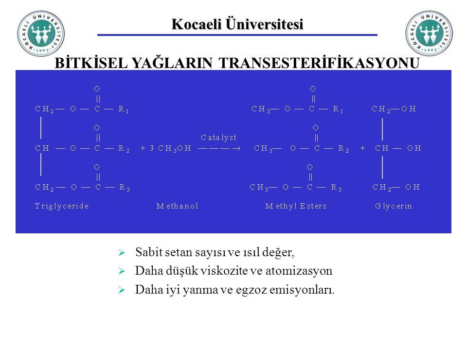 Kocaeli Üniversitesi BİTKİSEL YAĞLARIN TRANSESTERİFİKASYONU  Sabit setan sayısı ve ısıl değer,  Daha düşük viskozite ve atomizasyon  Daha iyi yanma
