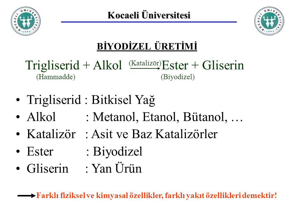 Kocaeli Üniversitesi BİYODİZEL ÜRETİMİ Trigliserid + Alkol Ester + Gliserin Trigliserid : Bitkisel Yağ Alkol : Metanol, Etanol, Bütanol, … Katalizör : Asit ve Baz Katalizörler Ester : Biyodizel Gliserin : Yan Ürün (Hammadde) (Katalizör) (Biyodizel) Farklı fiziksel ve kimyasal özellikler, farklı yakıt özellikleri demektir!