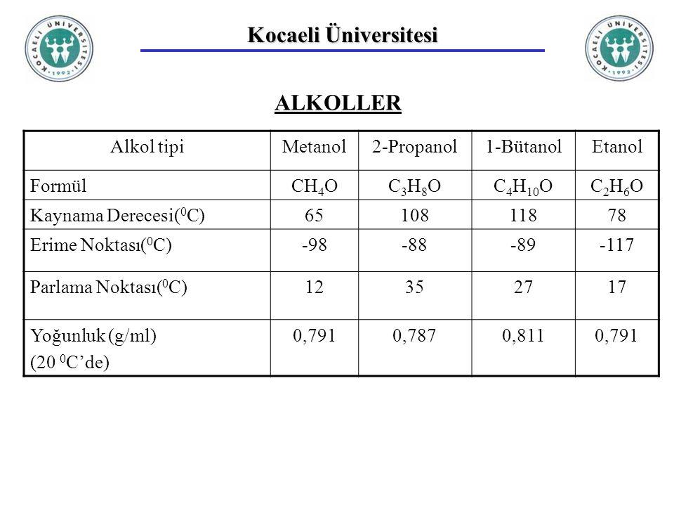 Kocaeli Üniversitesi ALKOLLER Alkol tipiMetanol2-Propanol1-BütanolEtanol FormülCH 4 OC3H8OC3H8OC 4 H 10 OC2H6OC2H6O Kaynama Derecesi( 0 C)6510811878 Erime Noktası( 0 C)-98-88-89-117 Parlama Noktası( 0 C)12352717 Yoğunluk (g/ml) (20 0 C'de) 0,7910,7870,8110,791