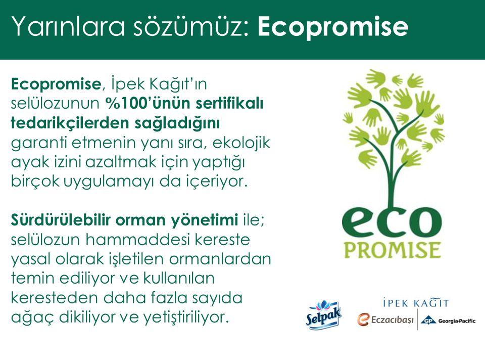 Ecopromise, İpek Kağıt'ın selülozunun % 100'ünün sertifikalı tedarikçilerden sağladığını garanti etmenin yanı sıra, ekolojik ayak izini azaltmak için yaptığı birçok uygulamayı da içeriyor.