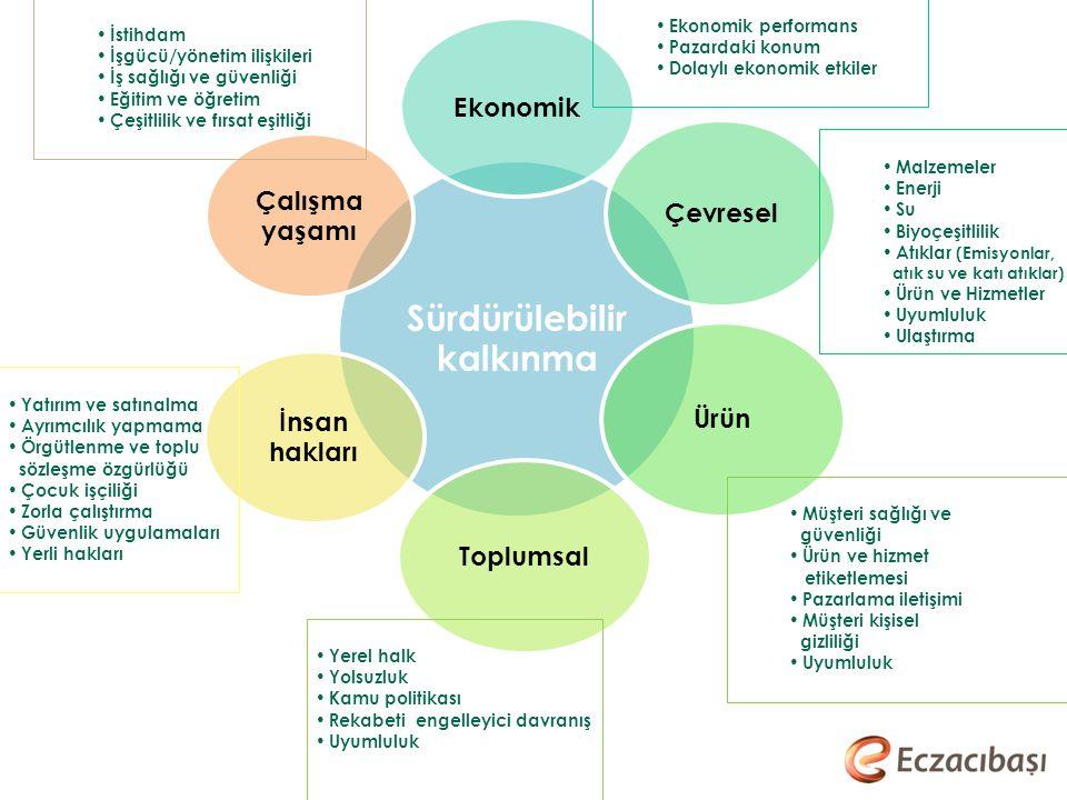Malzemeler Enerji Su Biyoçeşitlilik Atıklar (Emisyonlar, atık su ve katı atıklar) Ürün ve Hizmetler Uyumluluk Ulaştırma İstihdam İşgücü/yönetim ilişki