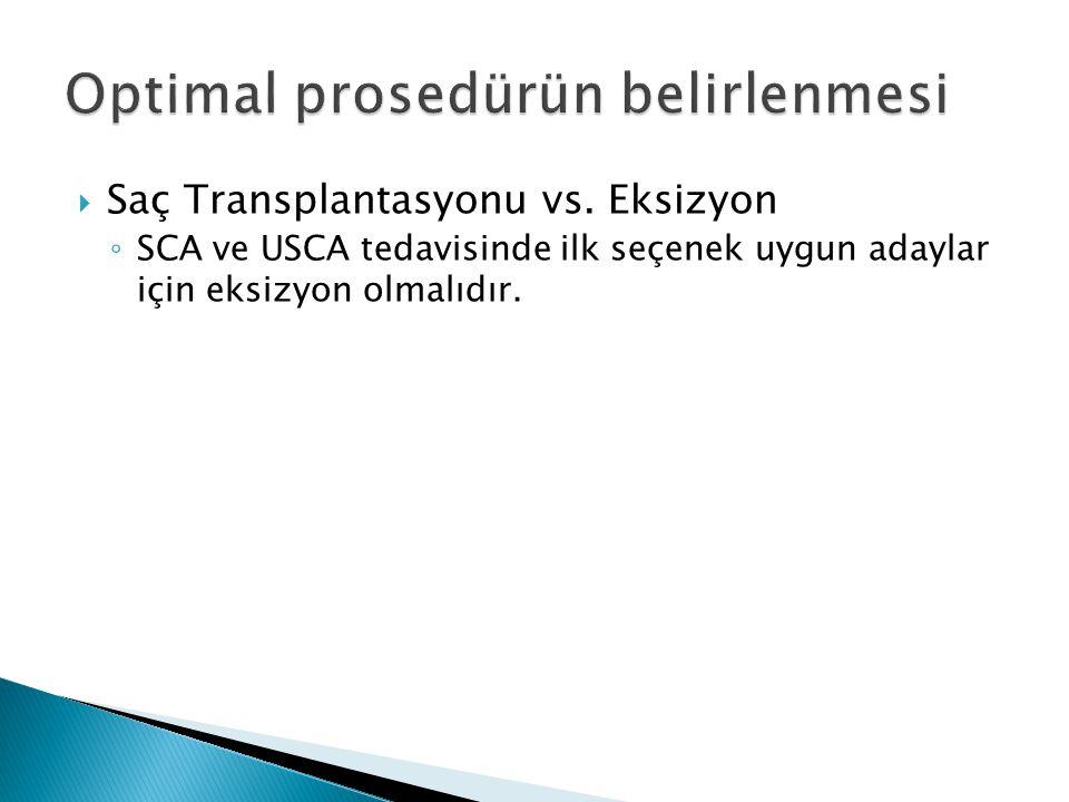  Saç Transplantasyonu vs. Eksizyon ◦ SCA ve USCA tedavisinde ilk seçenek uygun adaylar için eksizyon olmalıdır.