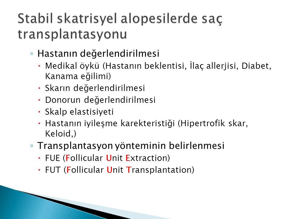 ◦ Hastanın değerlendirilmesi  Medikal öykü (Hastanın beklentisi, İlaç allerjisi, Diabet, Kanama eğilimi)  Skarın değerlendirilmesi  Donorun değerle