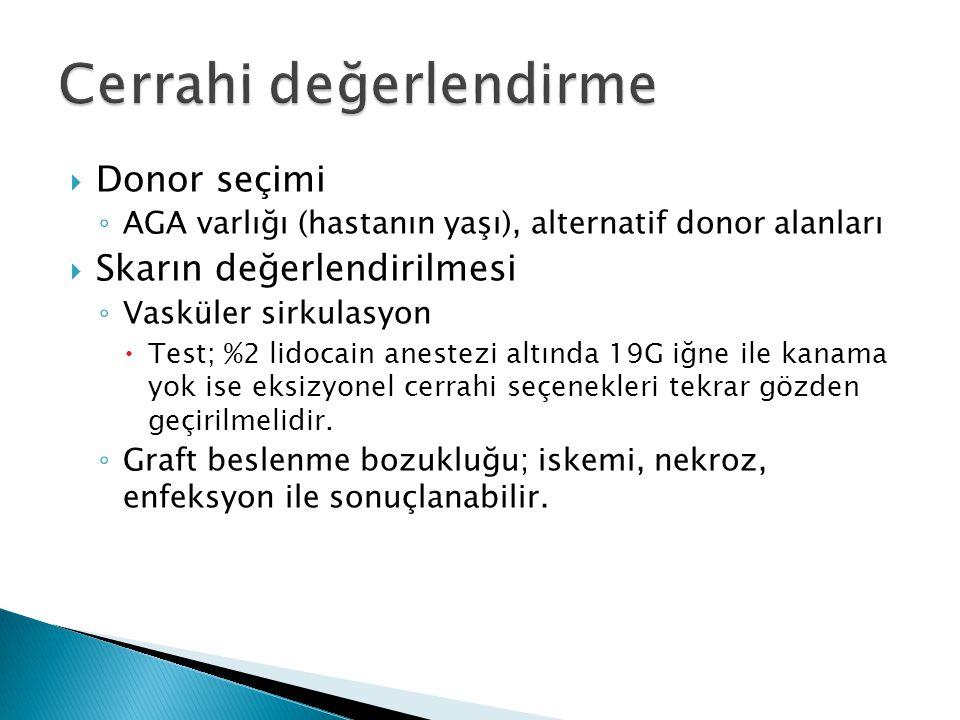  Donor seçimi ◦ AGA varlığı (hastanın yaşı), alternatif donor alanları  Skarın değerlendirilmesi ◦ Vasküler sirkulasyon  Test; %2 lidocain anestezi