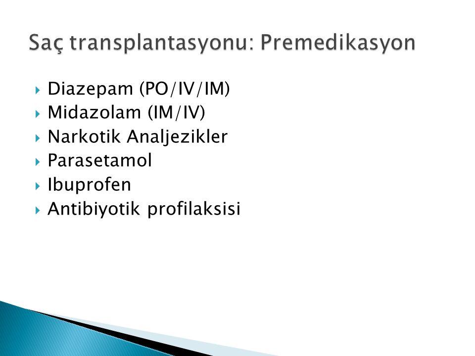 Diazepam (PO/IV/IM)  Midazolam (IM/IV)  Narkotik Analjezikler  Parasetamol  Ibuprofen  Antibiyotik profilaksisi
