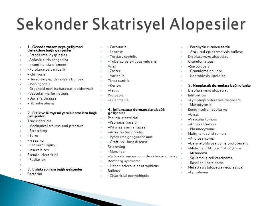  1. Genodermatoz veya gelişimsel defektlere bağlı gelişenler  -Ectodermal dysplasias  -Aplasia cutis congenita  -Incontinentia pigmenti  -Poroker