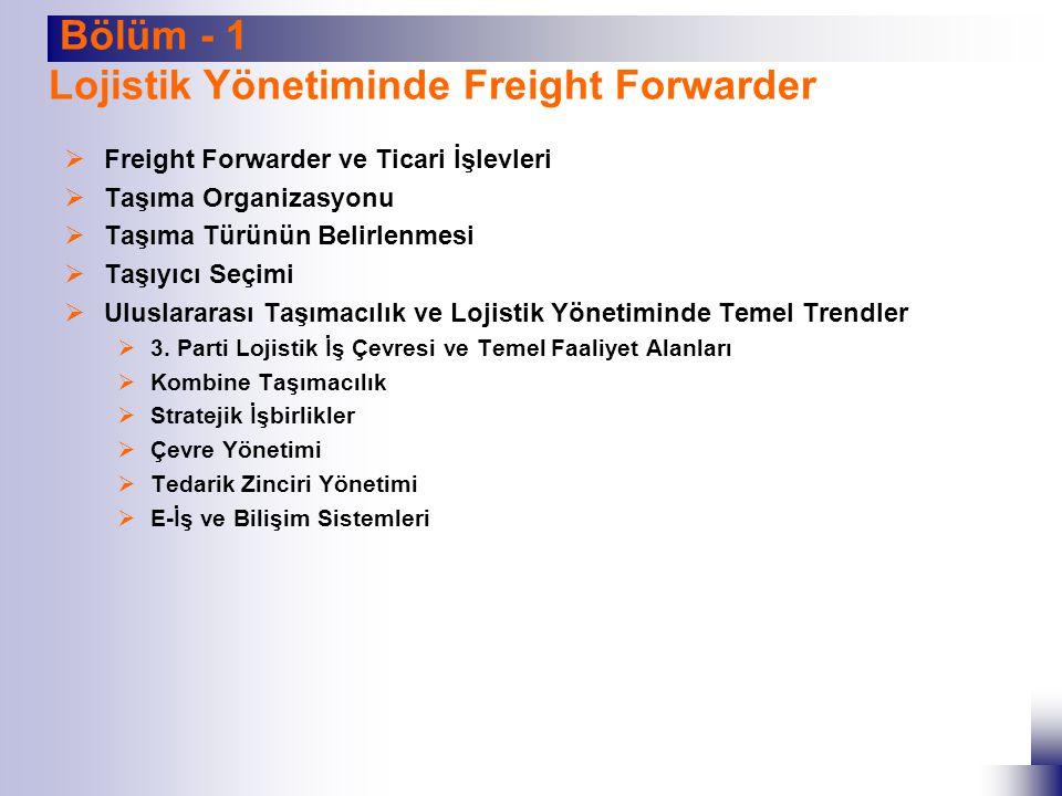  Freight Forwarder ve Ticari İşlevleri  Taşıma Organizasyonu  Taşıma Türünün Belirlenmesi  Taşıyıcı Seçimi  Uluslararası Taşımacılık ve Lojistik