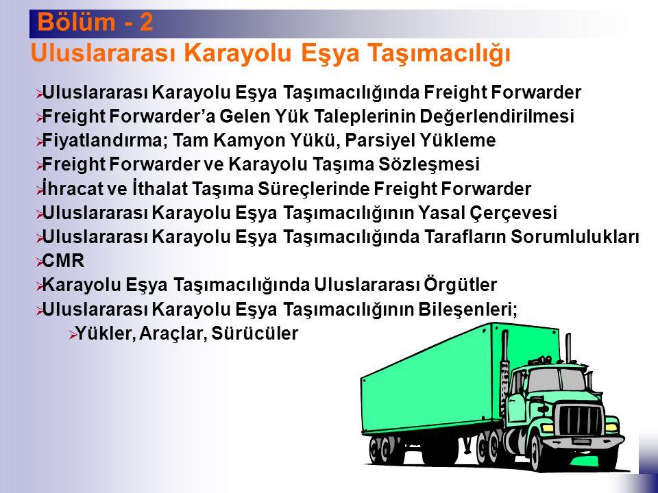 Bölüm - 3 Uluslararası Demiryolu Eşya Taşımacılığı  Uluslararası Demiryolu Eşya Taşımacılığında Freight Forwarder  Blok Tren Taşımacılığı,  Münferit Vagon Taşımacılığı,  Demiryoluyla Konteyner Sevkiyatı  İhracat ve İthalat Taşıma Süreçlerinde Freight Forwarder  Uluslararası Demiryolu Eşya Taşımacılığının Yasal Çerçevesi  Uluslararası Örgütler  Demiryolu Eşya Taşımacılığında Fiyatlandırma  Demiryolu Taşıma Sözleşmesi ve CIM Belgesi  Demiryolu Eşya Taşımacılığında Vagon Üzerindeki İşaretler