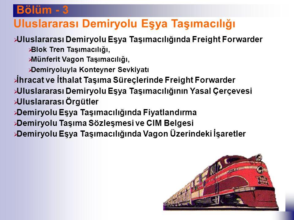 Bölüm - 3 Uluslararası Demiryolu Eşya Taşımacılığı  Uluslararası Demiryolu Eşya Taşımacılığında Freight Forwarder  Blok Tren Taşımacılığı,  Münferi