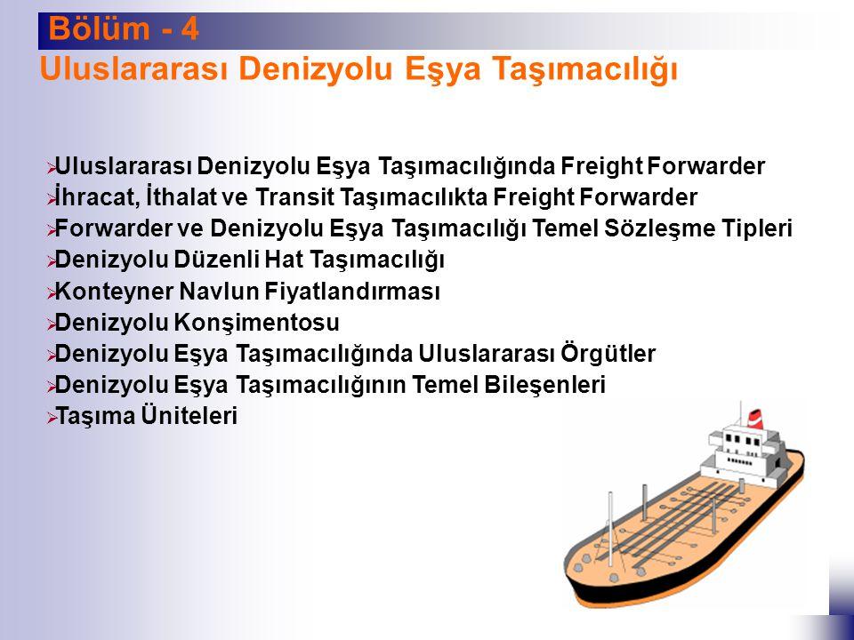 Bölüm - 5 Freight Forwarder Ve Kombine Taşımacılık  Kombine Taşımacılık Kavramı ve Temel Özellikleri  Kombine Taşımacılığın Bileşenleri  Kombine Taşımacılığın Yasal Çerçevesi  Uluslararası Kombine Taşımacılıkta Rol Oynayan Örgütler  Freight Forwarder ve Taşımacılık Belgeleri  Kombine Taşımacılık Konşimentosu (FBL)  Forwarder Mal Teslim Alındı Makbuzu ( FCR)  Forwarder Taşıma Makbuzu (FCT)  Forwarder Depo Alındı Makbuzu (FWR)  Tehlike Madde Taşımasına Ait Gönderen Bildirimi (FIATA SDT)  Taşımacılık Talimatları (FIATA FFI)