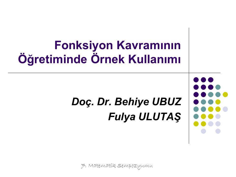 Fonksiyon Kavramının Öğretiminde Örnek Kullanımı Doç. Dr. Behiye UBUZ Fulya ULUTAŞ 7. Matematik Sempozyumu