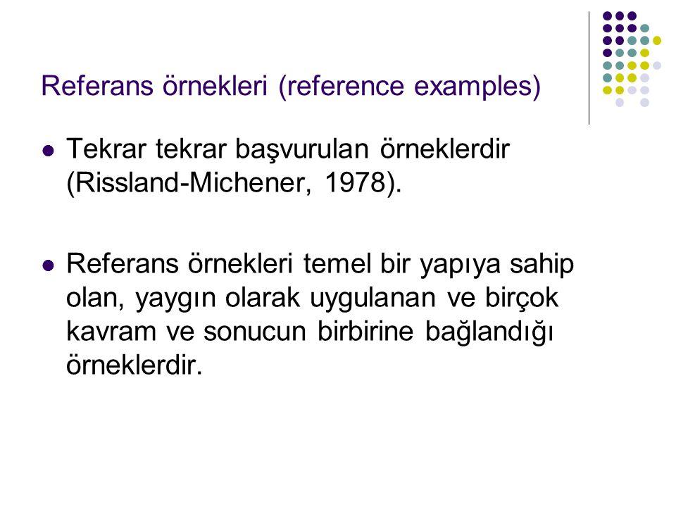 Referans örnekleri (reference examples) Tekrar tekrar başvurulan örneklerdir (Rissland-Michener, 1978). Referans örnekleri temel bir yapıya sahip olan