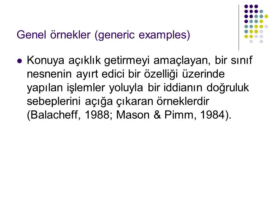 Genel örnekler (generic examples) Konuya açıklık getirmeyi amaçlayan, bir sınıf nesnenin ayırt edici bir özelliği üzerinde yapılan işlemler yoluyla bi