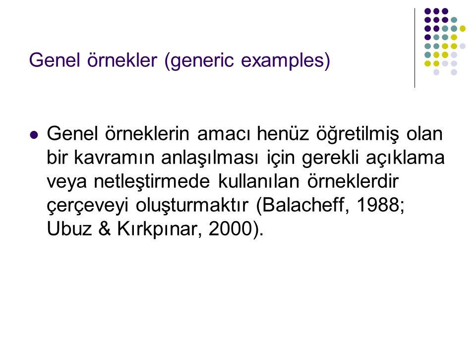 Genel örnekler (generic examples) Genel örneklerin amacı henüz öğretilmiş olan bir kavramın anlaşılması için gerekli açıklama veya netleştirmede kulla