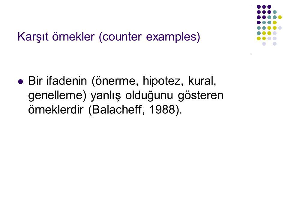 Karşıt örnekler (counter examples) Bir ifadenin (önerme, hipotez, kural, genelleme) yanlış olduğunu gösteren örneklerdir (Balacheff, 1988).