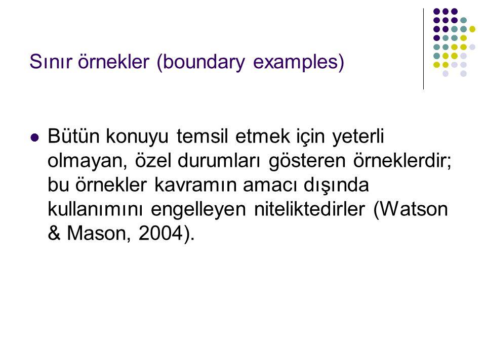 Sınır örnekler (boundary examples) Bütün konuyu temsil etmek için yeterli olmayan, özel durumları gösteren örneklerdir; bu örnekler kavramın amacı dış