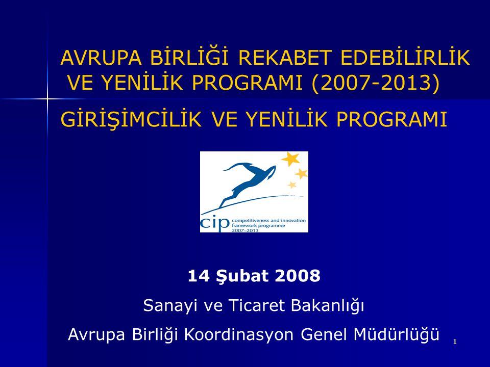 1 AVRUPA BİRLİĞİ REKABET EDEBİLİRLİK VE YENİLİK PROGRAMI (2007-2013) GİRİŞİMCİLİK VE YENİLİK PROGRAMI 14 Şubat 2008 Sanayi ve Ticaret Bakanlığı Avrupa