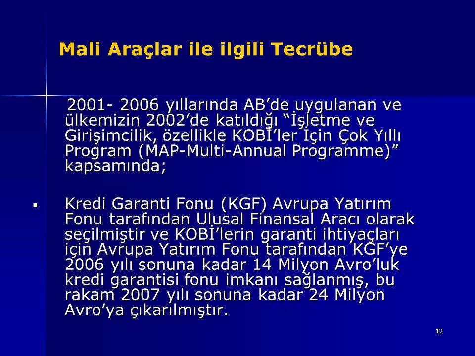 """12 Mali Araçlar ile ilgili Tecrübe 2001- 2006 yıllarında AB'de uygulanan ve ülkemizin 2002'de katıldığı """"İşletme ve Girişimcilik, özellikle KOBİ'ler İ"""