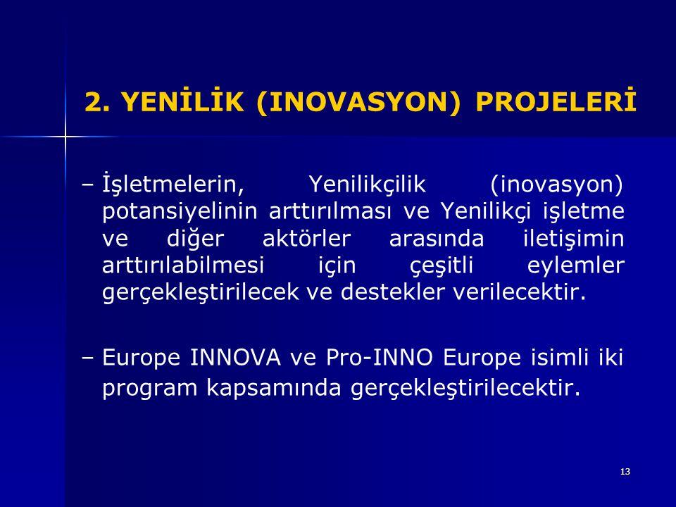 13 2. YENİLİK (INOVASYON) PROJELERİ – –İşletmelerin, Yenilikçilik (inovasyon) potansiyelinin arttırılması ve Yenilikçi işletme ve diğer aktörler arası