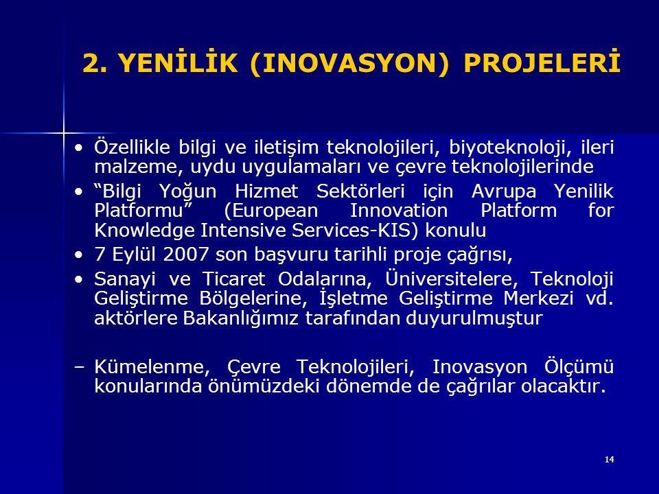 14 2. YENİLİK (INOVASYON) PROJELERİ Özellikle bilgi ve iletişim teknolojileri, biyoteknoloji, ileri malzeme, uydu uygulamaları ve çevre teknolojilerin