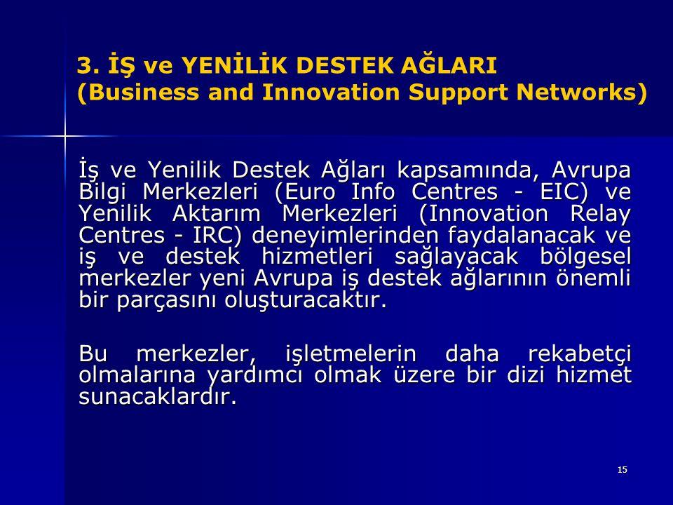 15 3. İŞ ve YENİLİK DESTEK AĞLARI (Business and Innovation Support Networks) İş ve Yenilik Destek Ağları kapsamında, Avrupa Bilgi Merkezleri (Euro Inf