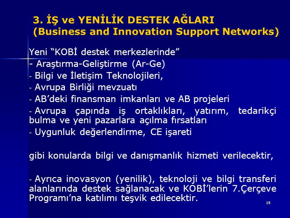 """18 Yeni """"KOBİ destek merkezlerinde"""" - Araştırma-Geliştirme (Ar-Ge) - - Bilgi ve İletişim Teknolojileri, - - Avrupa Birliği mevzuatı - - AB'deki finans"""