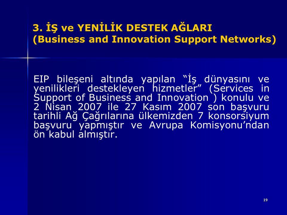 """19 EIP bileşeni altında yapılan """"İş dünyasını ve yenilikleri destekleyen hizmetler"""" (Services in Support of Business and Innovation ) konulu ve 2 Nisa"""