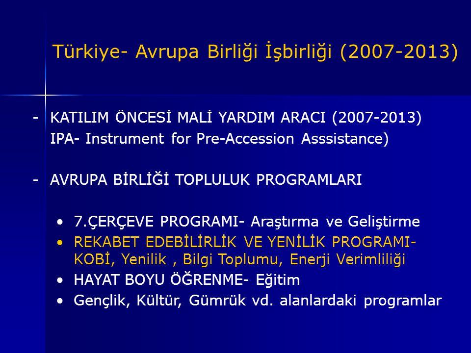 -KATILIM ÖNCESİ MALİ YARDIM ARACI (2007-2013) IPA- Instrument for Pre-Accession Asssistance) -AVRUPA BİRLİĞİ TOPLULUK PROGRAMLARI 7.ÇERÇEVE PROGRAMI-