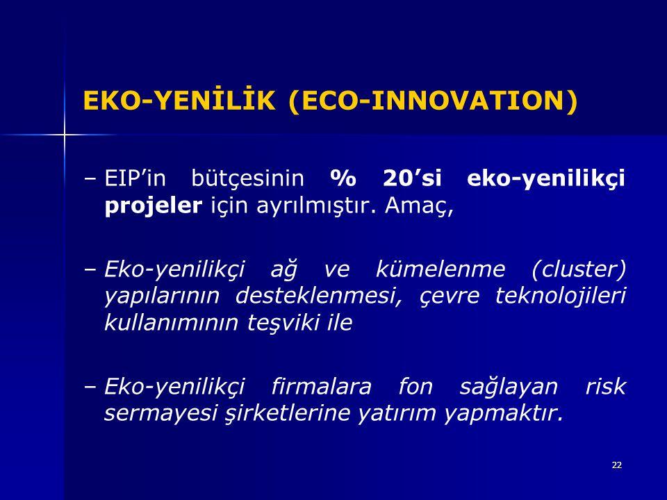 22 EKO-YENİLİK (ECO-INNOVATION) – –EIP'in bütçesinin % 20'si eko-yenilikçi projeler için ayrılmıştır. Amaç, – –Eko-yenilikçi ağ ve kümelenme (cluster)